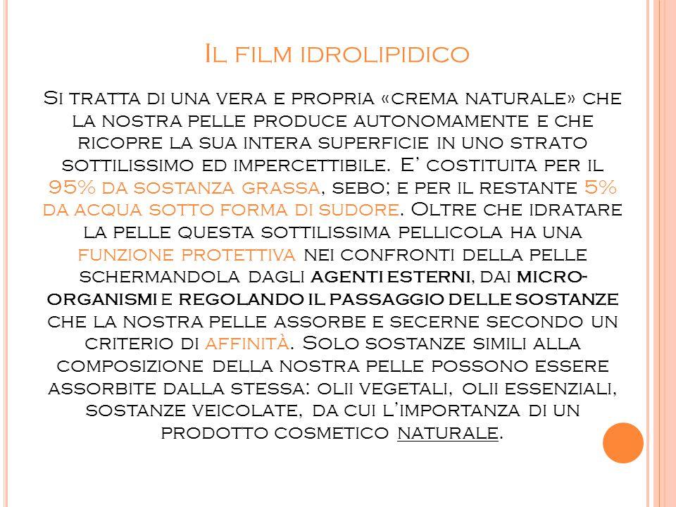 I L FILM IDROLIPIDICO Si tratta di una vera e propria «crema naturale» che la nostra pelle produce autonomamente e che ricopre la sua intera superfici