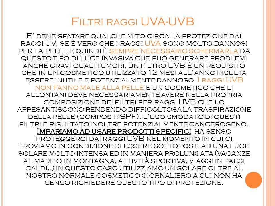F ILTRI RAGGI UVA-UVB E' bene sfatare qualche mito circa la protezione dai raggi UV, se è vero che i raggi UVA sono molto dannosi per la pelle e quind