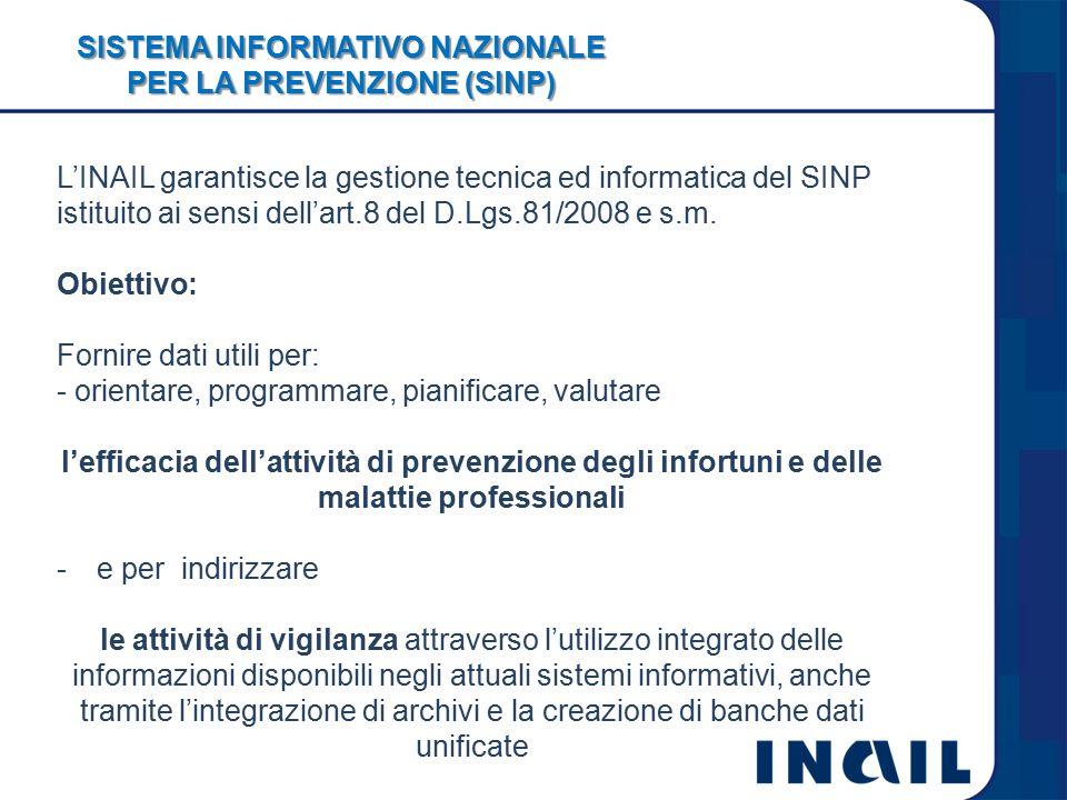 SISTEMA INFORMATIVO NAZIONALE PER LA PREVENZIONE (SINP) L'INAIL garantisce la gestione tecnica ed informatica del SINP istituito ai sensi dell'art.8 del D.Lgs.81/2008 e s.m.