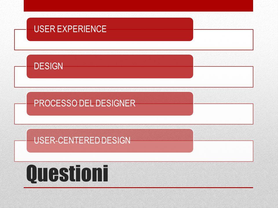 Questioni USER EXPERIENCEDESIGNPROCESSO DEL DESIGNERUSER-CENTERED DESIGN