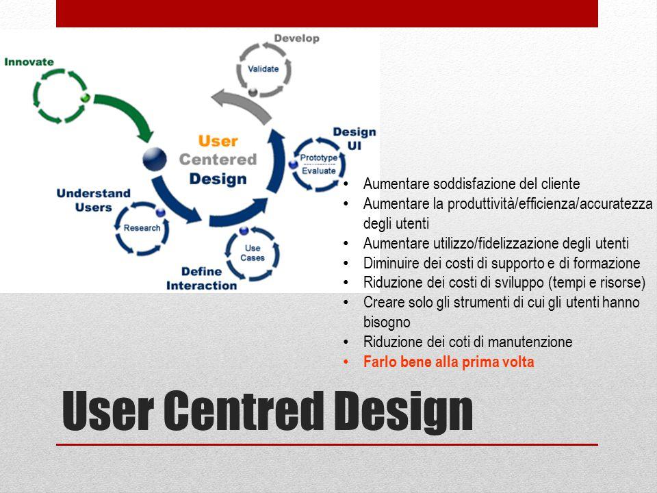 User Centred Design Aumentare soddisfazione del cliente Aumentare la produttività/efficienza/accuratezza degli utenti Aumentare utilizzo/fidelizzazion
