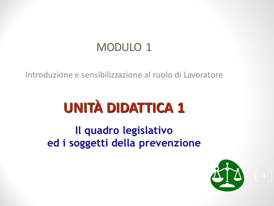 MODULO 1 Introduzione e sensibilizzazione al ruolo di Lavoratore UNITÀ DIDATTICA 1 Il quadro legislativo ed i soggetti della prevenzione 1