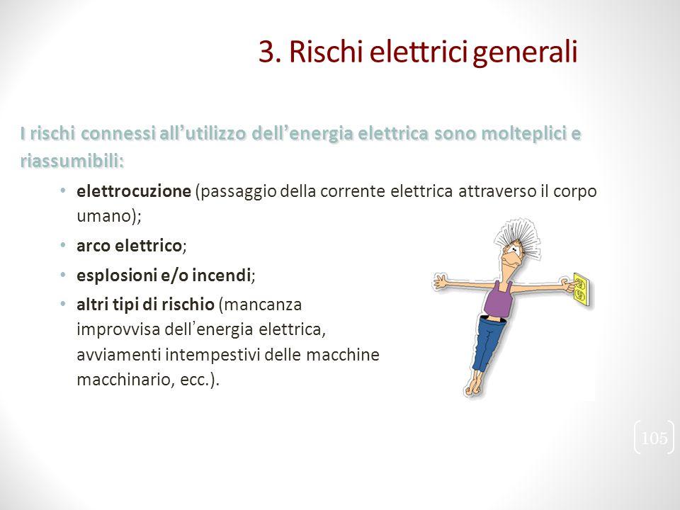 I rischi connessi all'utilizzo dell'energia elettrica sono molteplici e riassumibili: elettrocuzione (passaggio della corrente elettrica attraverso il