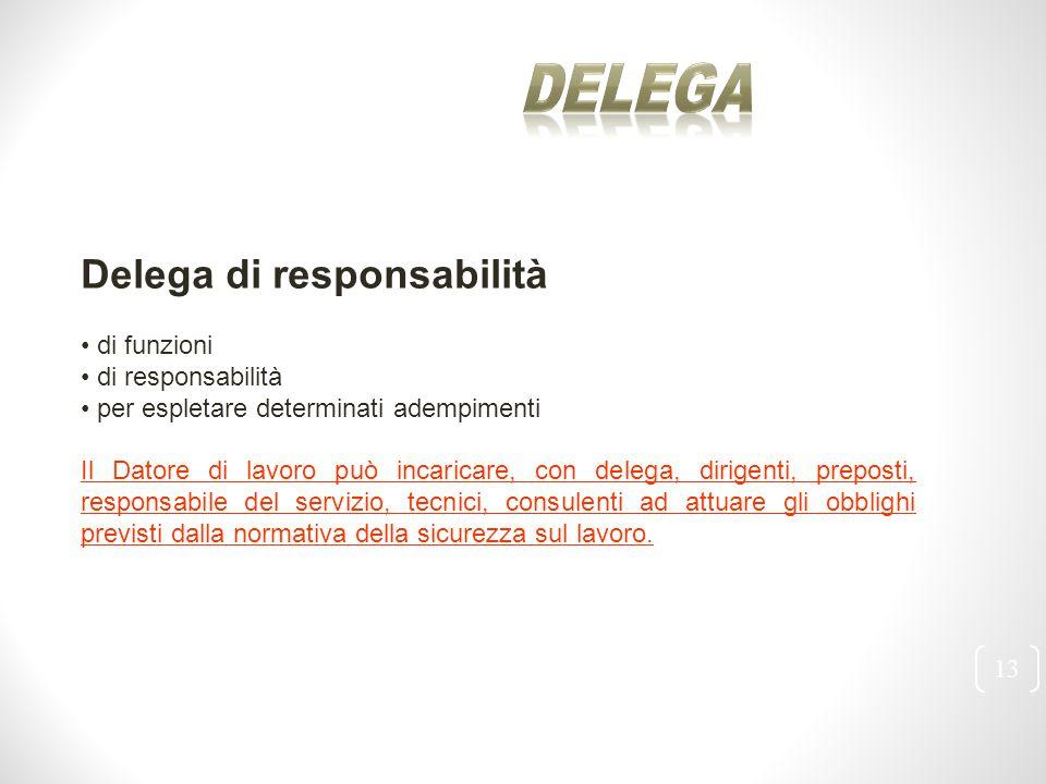 13 Delega di responsabilità di funzioni di responsabilità per espletare determinati adempimenti Il Datore di lavoro può incaricare, con delega, dirige