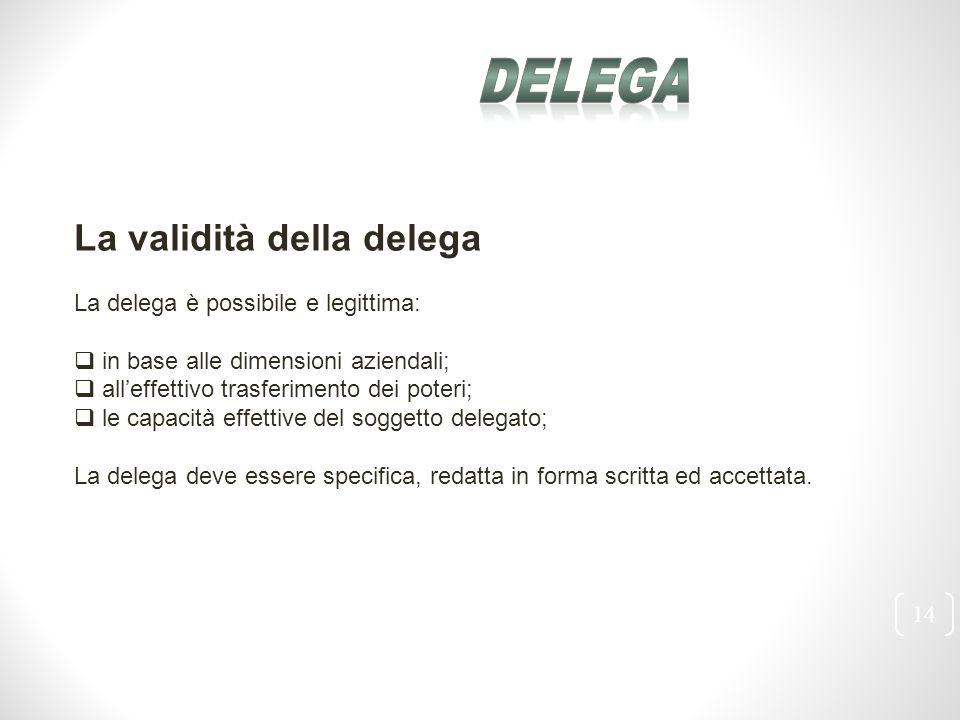 14 La validità della delega La delega è possibile e legittima:  in base alle dimensioni aziendali;  all'effettivo trasferimento dei poteri;  le cap