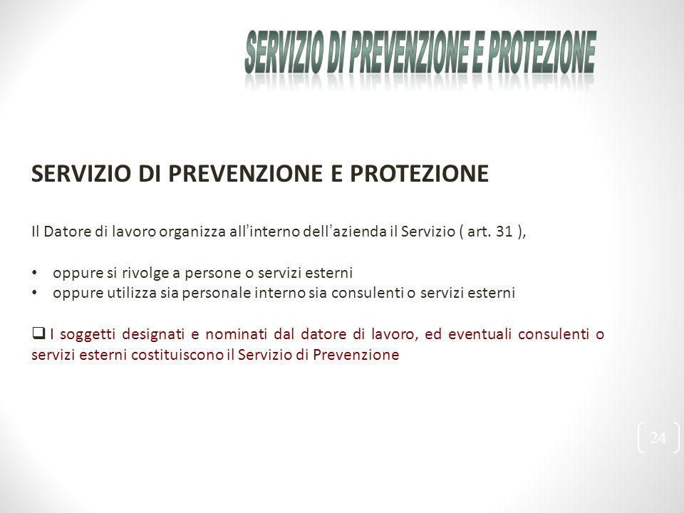 24 SERVIZIO DI PREVENZIONE E PROTEZIONE Il Datore di lavoro organizza all'interno dell'azienda il Servizio ( art. 31 ), oppure si rivolge a persone o
