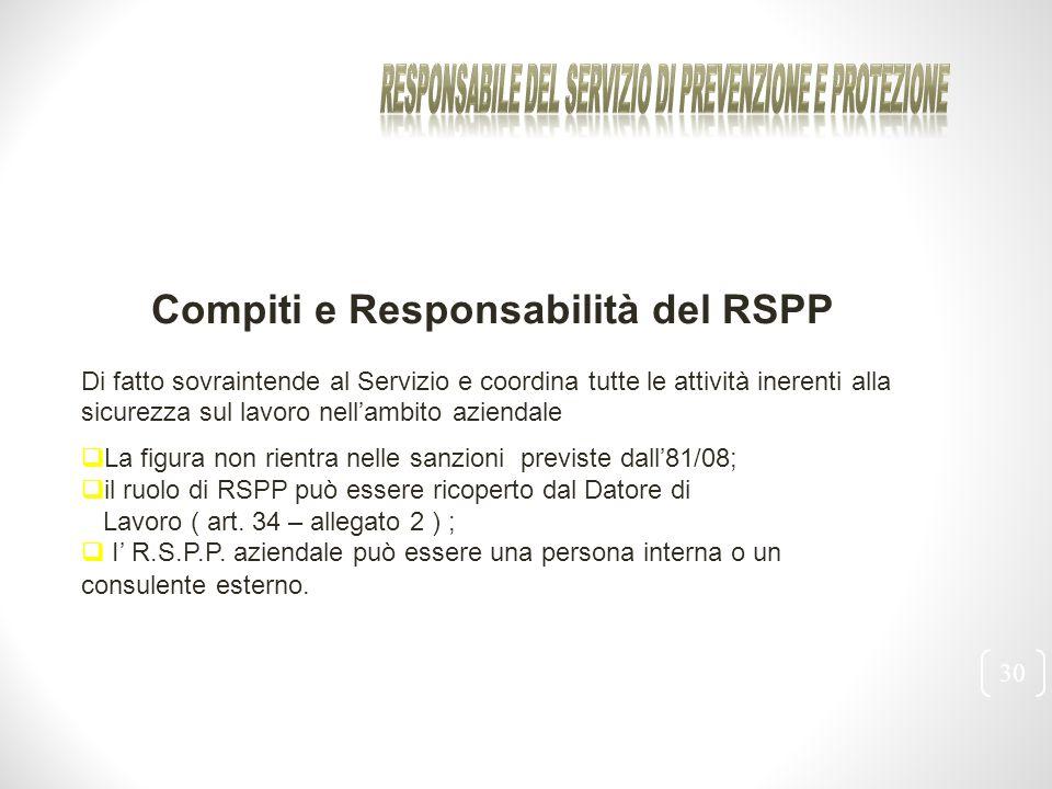 30 Compiti e Responsabilità del RSPP Di fatto sovraintende al Servizio e coordina tutte le attività inerenti alla sicurezza sul lavoro nell'ambito azi
