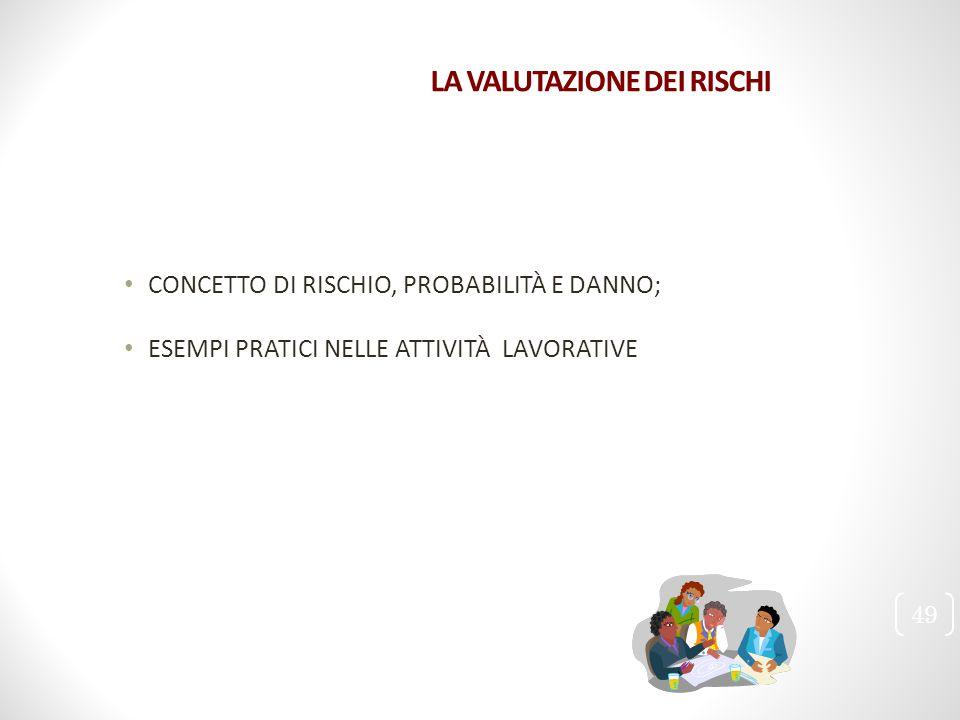LA VALUTAZIONE DEI RISCHI CONCETTO DI RISCHIO, PROBABILITÀ E DANNO; ESEMPI PRATICI NELLE ATTIVITÀ LAVORATIVE 49
