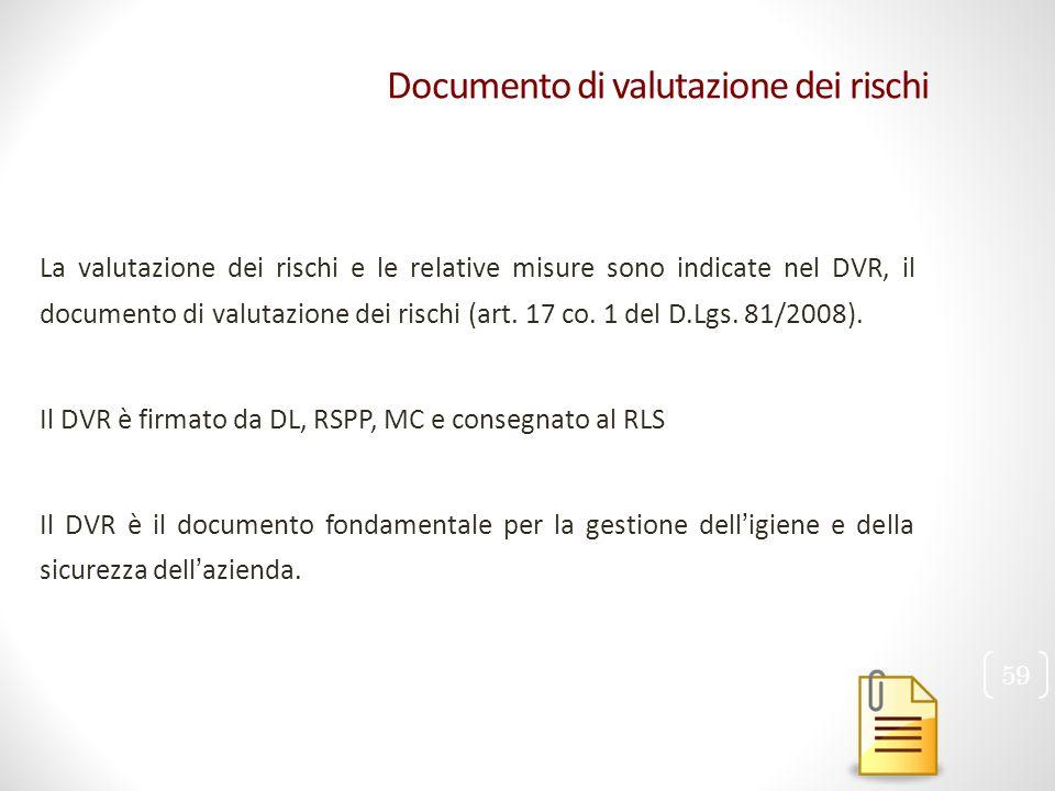 Documento di valutazione dei rischi La valutazione dei rischi e le relative misure sono indicate nel DVR, il documento di valutazione dei rischi (art.