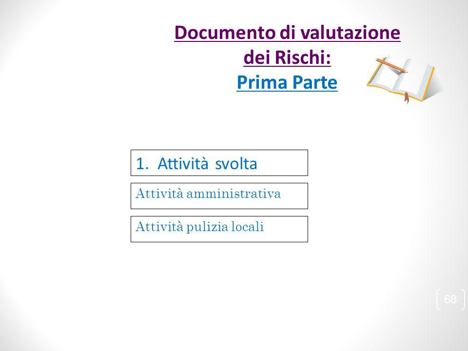 Attività amministrativa 1. Attività svolta Attività pulizia locali 68 Documento di valutazione dei Rischi: Prima Parte