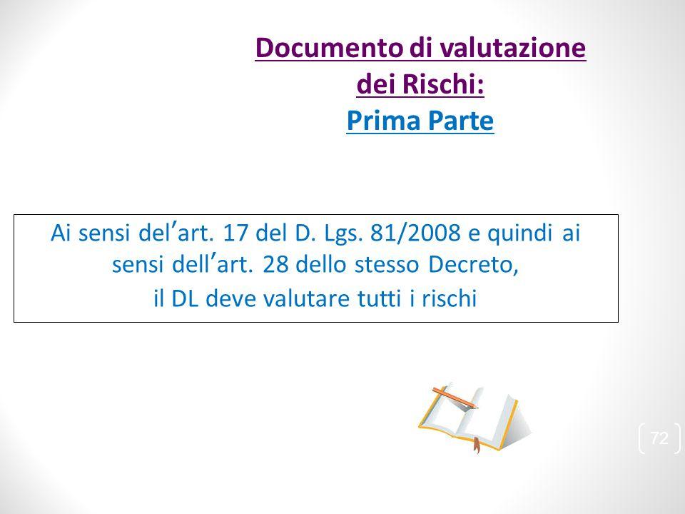 Ai sensi del'art. 17 del D. Lgs. 81/2008 e quindi ai sensi dell'art. 28 dello stesso Decreto, il DL deve valutare tutti i rischi 72 Documento di valut