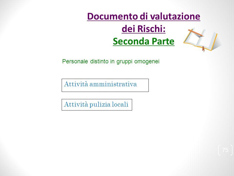 Personale distinto in gruppi omogenei Attività amministrativa Attività pulizia locali 75 Documento di valutazione dei Rischi: Seconda Parte