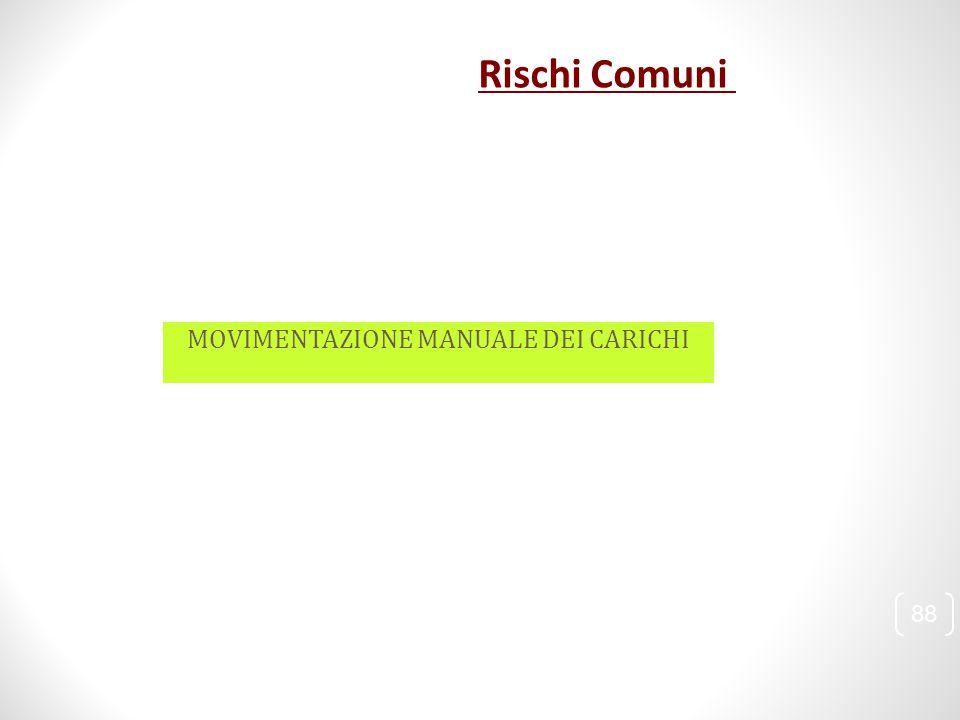 Rischi Comuni MOVIMENTAZIONE MANUALE DEI CARICHI 88