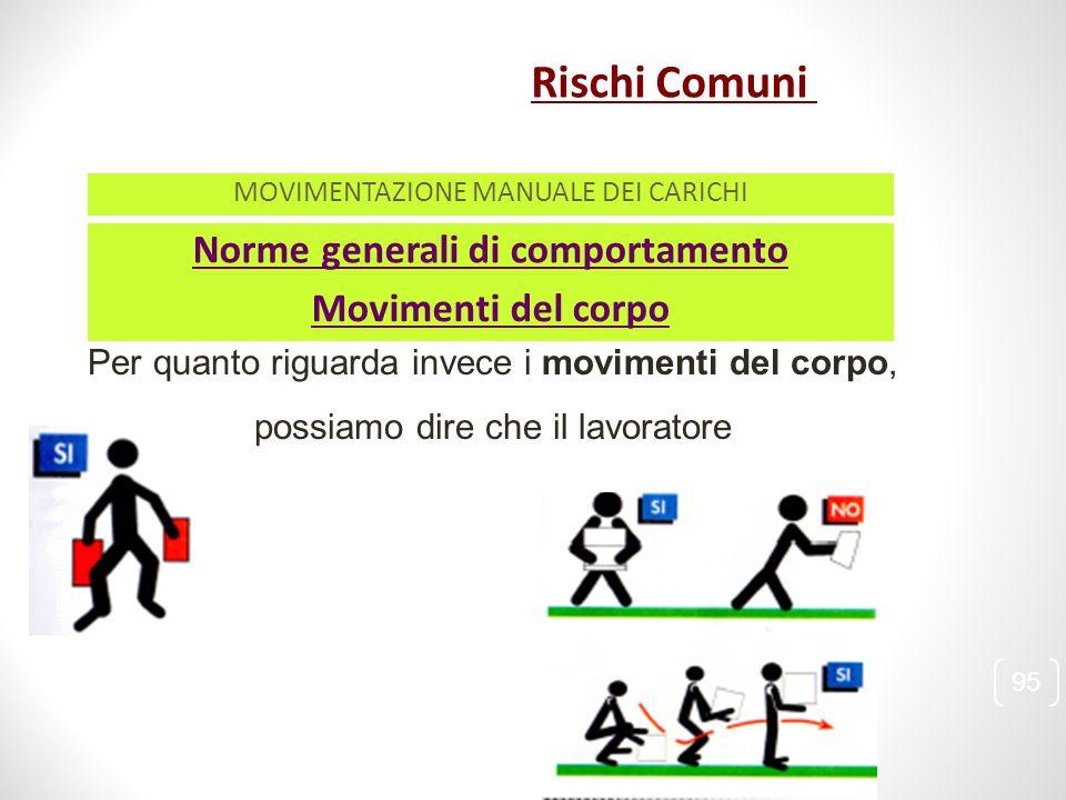 Norme generali di comportamento Per quanto riguarda invece i movimenti del corpo, possiamo dire che il lavoratore Movimenti del corpo 95 MOVIMENTAZION