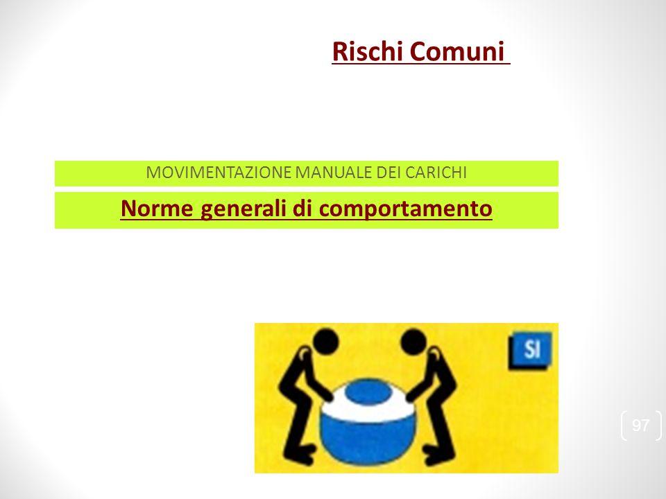Norme generali di comportamento 97 MOVIMENTAZIONE MANUALE DEI CARICHI Rischi Comuni