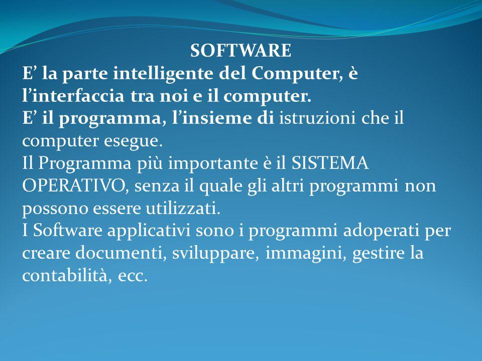 SOFTWARE E' la parte intelligente del Computer, è l'interfaccia tra noi e il computer. E' il programma, l'insieme di istruzioni che il computer esegue