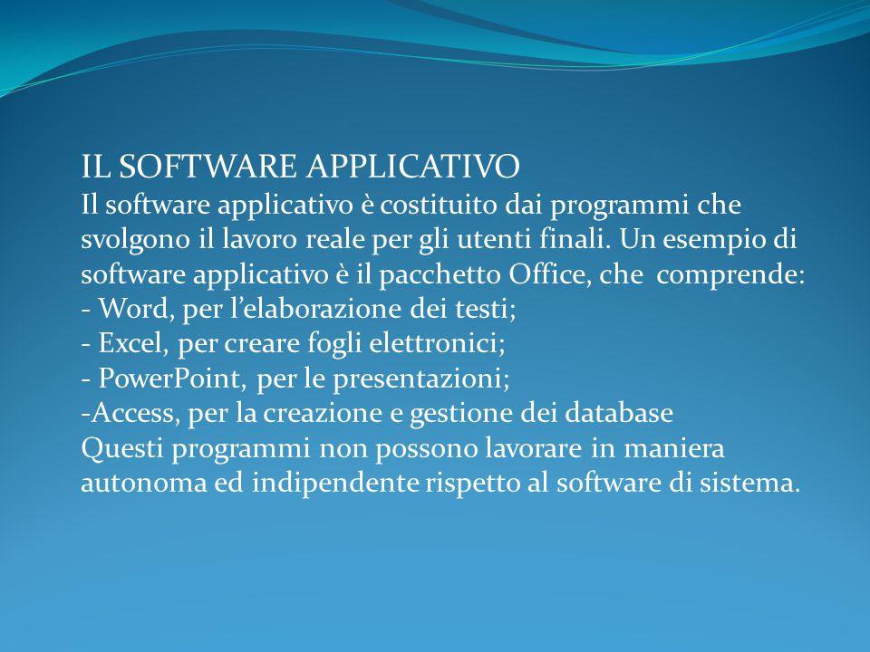 IL SOFTWARE APPLICATIVO Il software applicativo è costituito dai programmi che svolgono il lavoro reale per gli utenti finali.