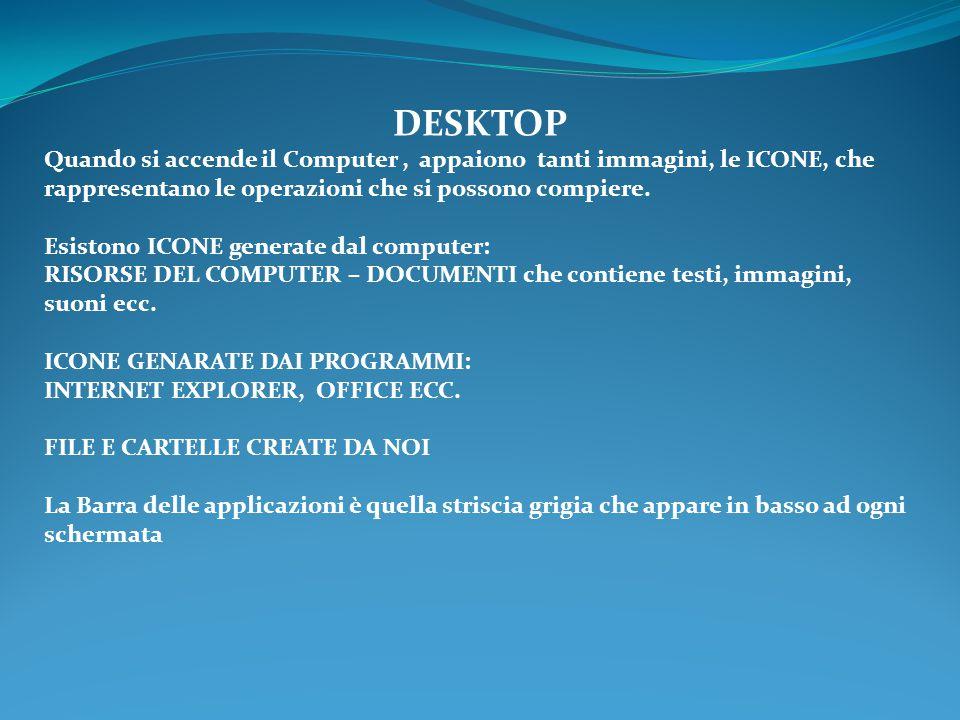 DESKTOP Quando si accende il Computer, appaiono tanti immagini, le ICONE, che rappresentano le operazioni che si possono compiere. Esistono ICONE gene