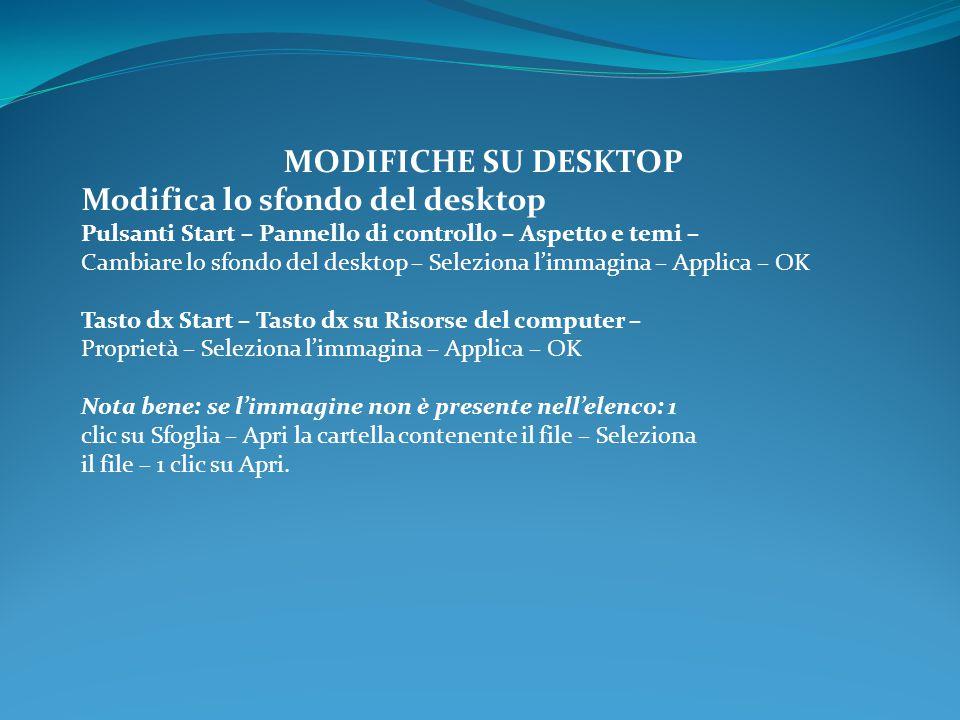 MODIFICHE SU DESKTOP Modifica lo sfondo del desktop Pulsanti Start – Pannello di controllo – Aspetto e temi – Cambiare lo sfondo del desktop – Selezio