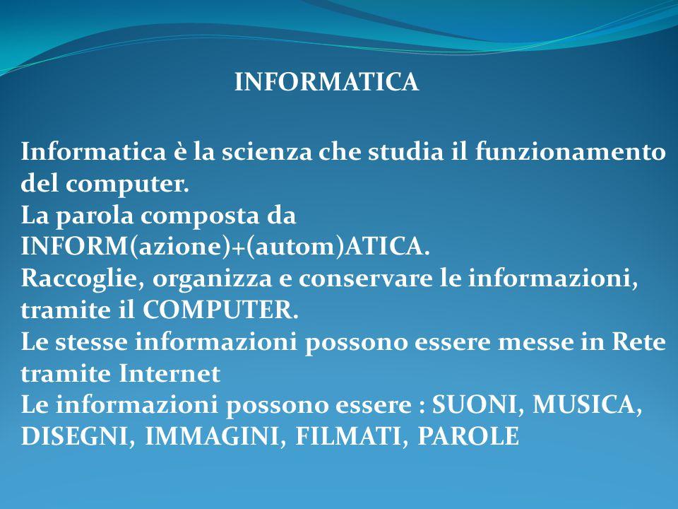 INFORMATICA Informatica è la scienza che studia il funzionamento del computer. La parola composta da INFORM(azione)+(autom)ATICA. Raccoglie, organizza