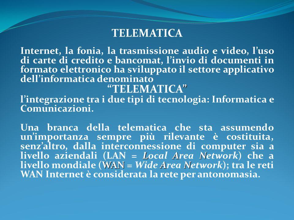 TELEMATICA Internet, la fonia, la trasmissione audio e video, l'uso di carte di credito e bancomat, l'invio di documenti in formato elettronico ha sviluppato il settore applicativo dell'informatica denominato TELEMATICA l'integrazione tra i due tipi di tecnologia: Informatica e Comunicazioni.