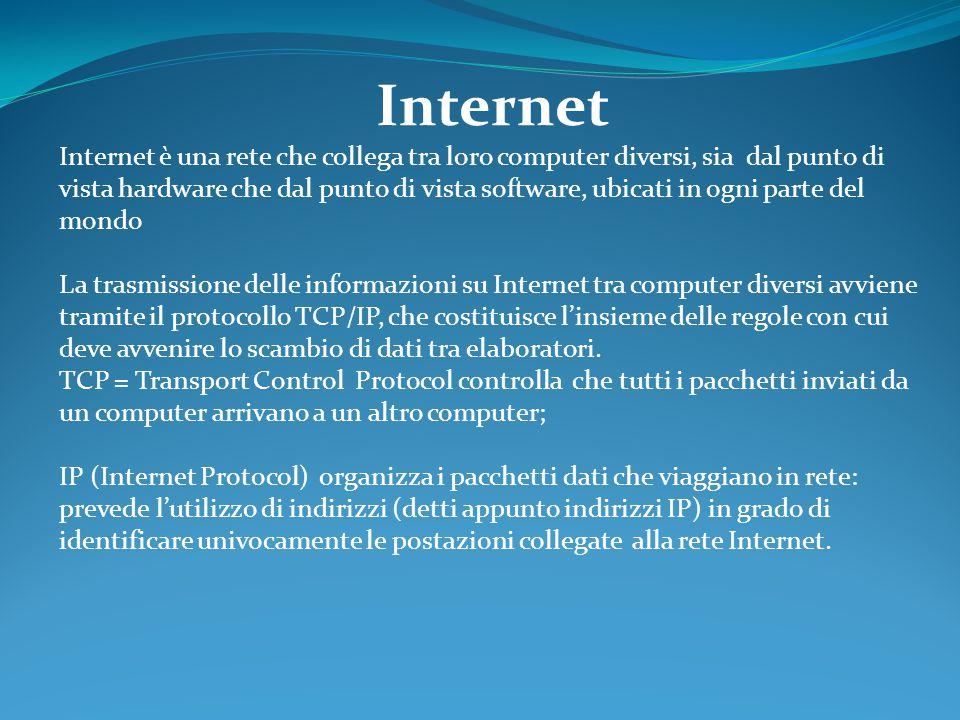 Internet Internet è una rete che collega tra loro computer diversi, sia dal punto di vista hardware che dal punto di vista software, ubicati in ogni parte del mondo La trasmissione delle informazioni su Internet tra computer diversi avviene tramite il protocollo TCP/IP, che costituisce l'insieme delle regole con cui deve avvenire lo scambio di dati tra elaboratori.