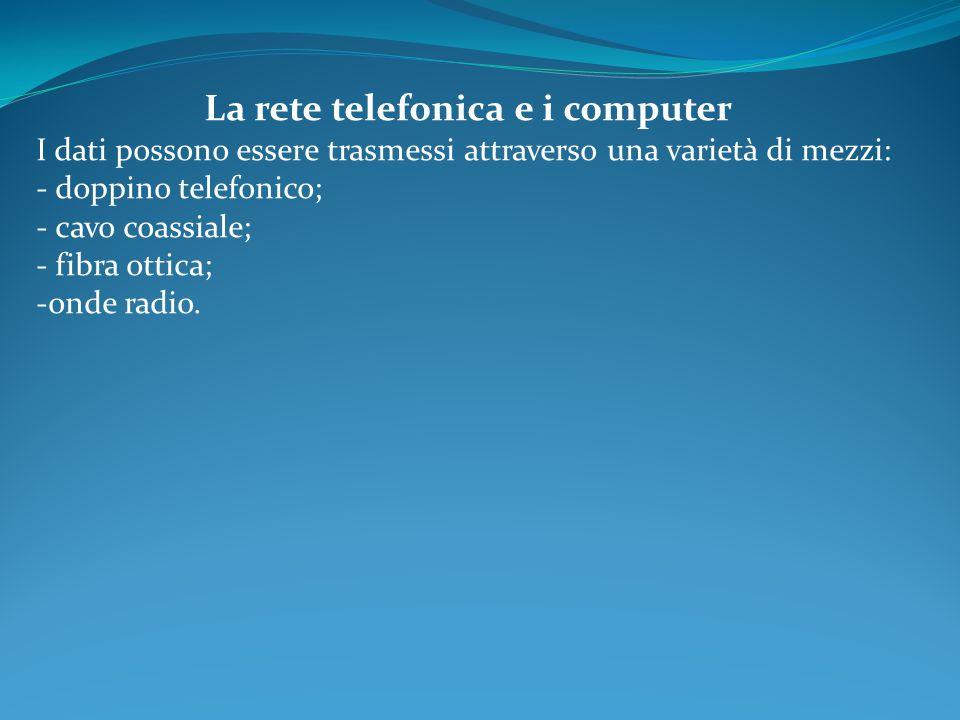 La rete telefonica e i computer I dati possono essere trasmessi attraverso una varietà di mezzi: - doppino telefonico; - cavo coassiale; - fibra ottic