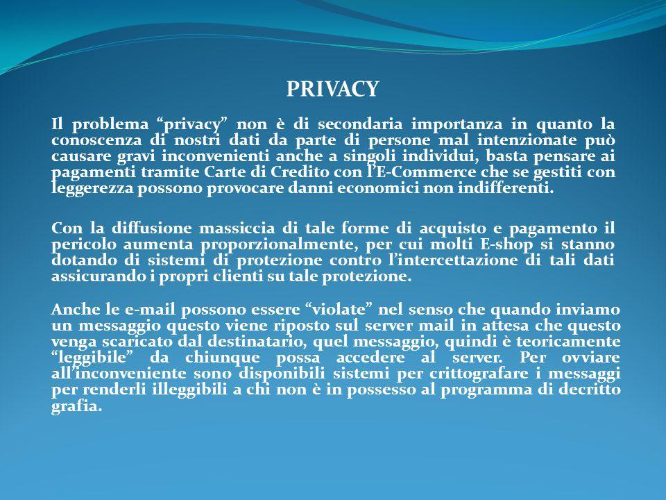 """PRIVACY Il problema """"privacy"""" non è di secondaria importanza in quanto la conoscenza di nostri dati da parte di persone mal intenzionate può causare g"""