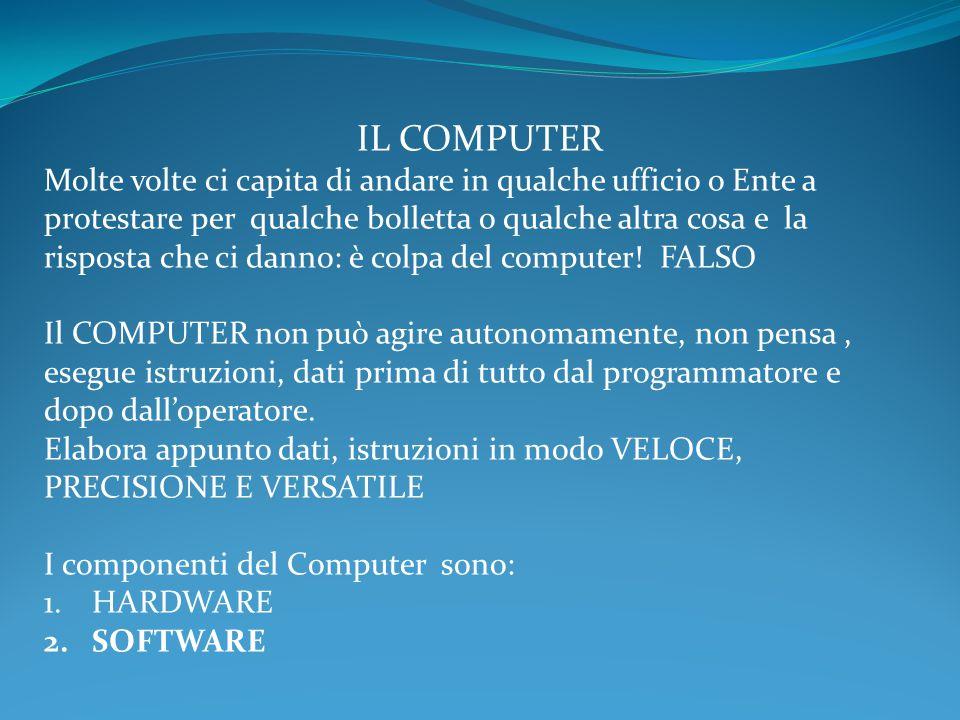 IL COMPUTER Molte volte ci capita di andare in qualche ufficio o Ente a protestare per qualche bolletta o qualche altra cosa e la risposta che ci danno: è colpa del computer.