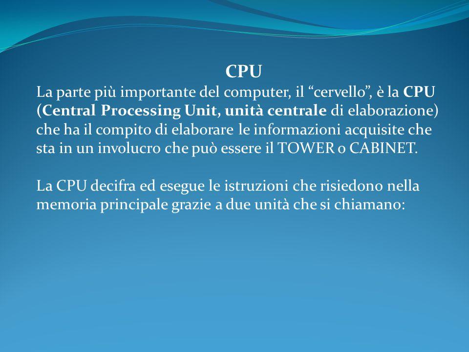 CPU La parte più importante del computer, il cervello , è la CPU (Central Processing Unit, unità centrale di elaborazione) che ha il compito di elaborare le informazioni acquisite che sta in un involucro che può essere il TOWER o CABINET.