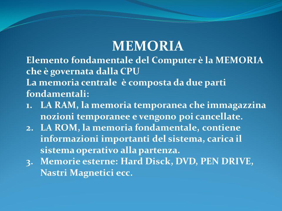 MEMORIA Elemento fondamentale del Computer è la MEMORIA che è governata dalla CPU La memoria centrale è composta da due parti fondamentali: 1.LA RAM, la memoria temporanea che immagazzina nozioni temporanee e vengono poi cancellate.