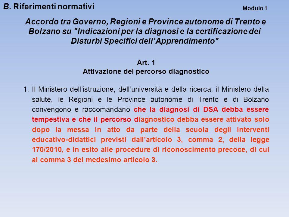 Modulo 1 Accordo tra Governo, Regioni e Province autonome di Trento e Bolzano su