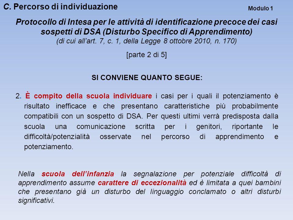 Modulo 1 Protocollo di Intesa per le attività di identificazione precoce dei casi sospetti di DSA (Disturbo Specifico di Apprendimento) (di cui all'ar