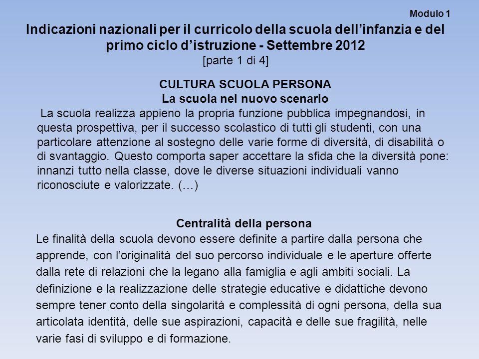 Modulo 1 Indicazioni nazionali per il curricolo della scuola dell'infanzia e del primo ciclo d'istruzione - Settembre 2012 [parte 1 di 4] CULTURA SCUO