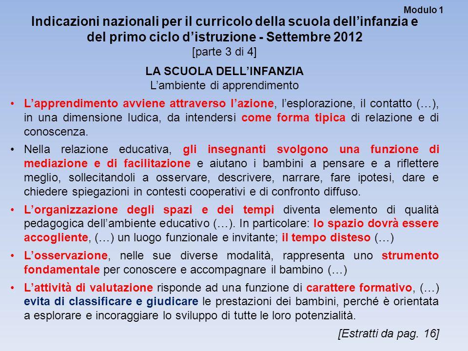 Modulo 1 Indicazioni nazionali per il curricolo della scuola dell'infanzia e del primo ciclo d'istruzione - Settembre 2012 [parte 3 di 4] LA SCUOLA DE