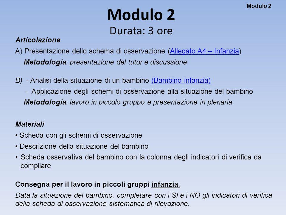 Modulo 2 Modulo 2 Durata: 3 ore Articolazione A) Presentazione dello schema di osservazione (Allegato A4 – Infanzia)Allegato A4 – Infanzia Metodologia