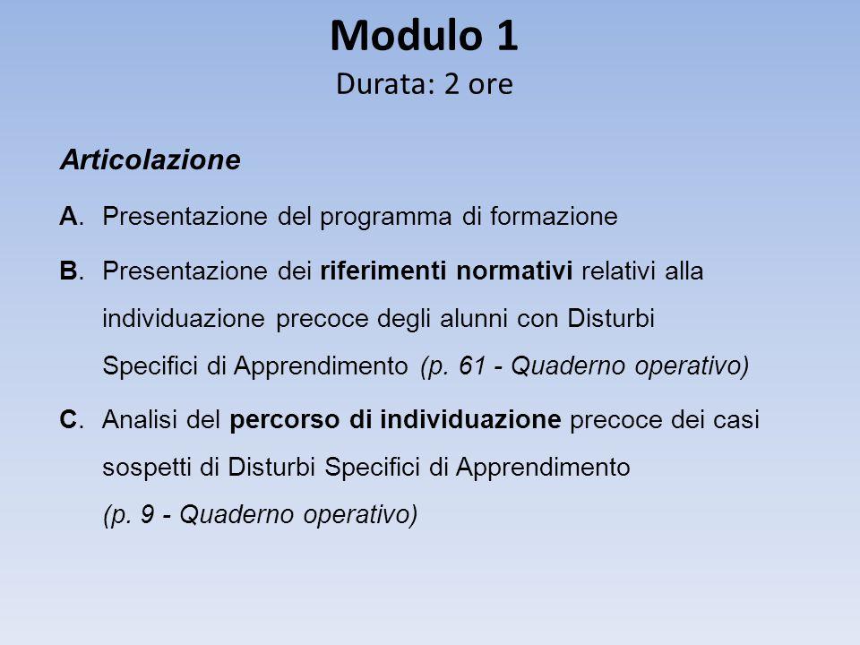 Modulo 1 Durata: 2 ore Articolazione A. Presentazione del programma di formazione B. Presentazione dei riferimenti normativi relativi alla individuazi