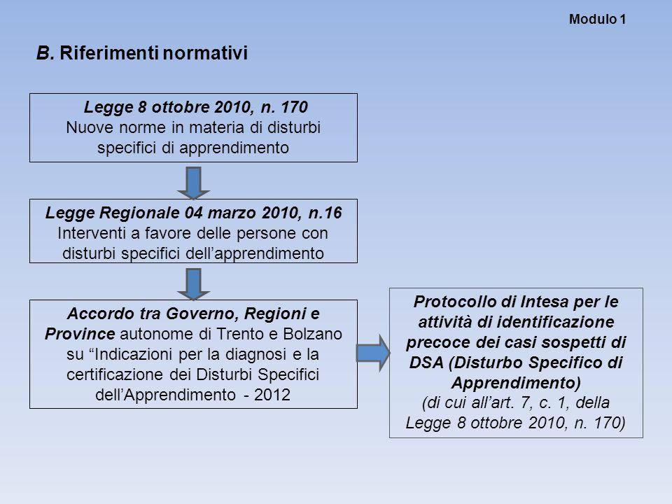 Modulo 1 B. Riferimenti normativi Legge Regionale 04 marzo 2010, n.16 Interventi a favore delle persone con disturbi specifici dell'apprendimento Legg