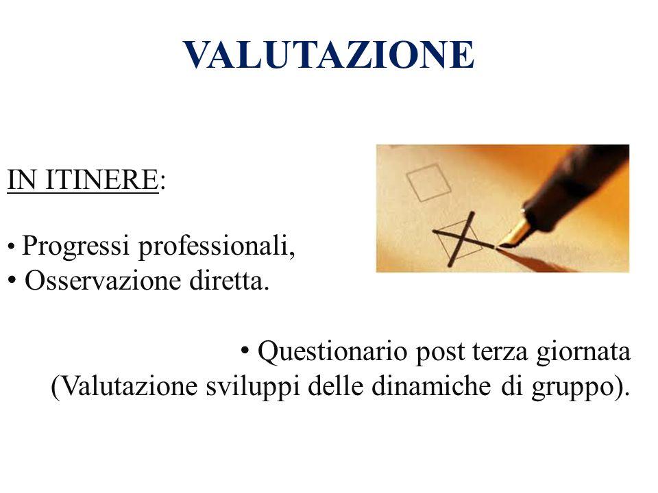 IN ITINERE: Progressi professionali, Osservazione diretta. Questionario post terza giornata (Valutazione sviluppi delle dinamiche di gruppo). VALUTAZI