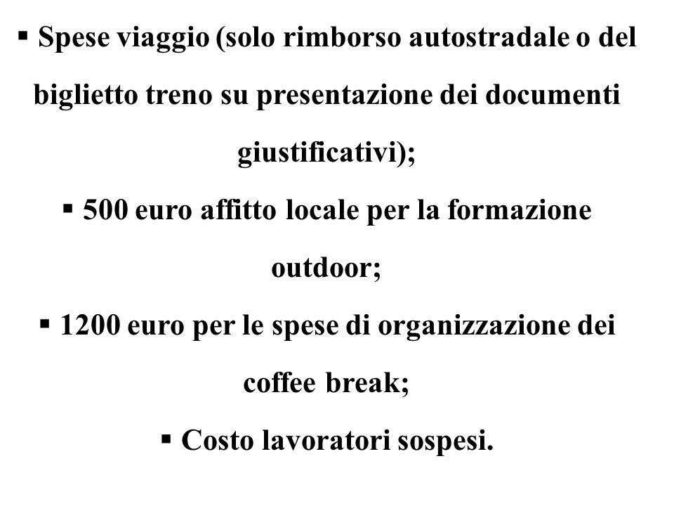  Spese viaggio (solo rimborso autostradale o del biglietto treno su presentazione dei documenti giustificativi);  500 euro affitto locale per la for