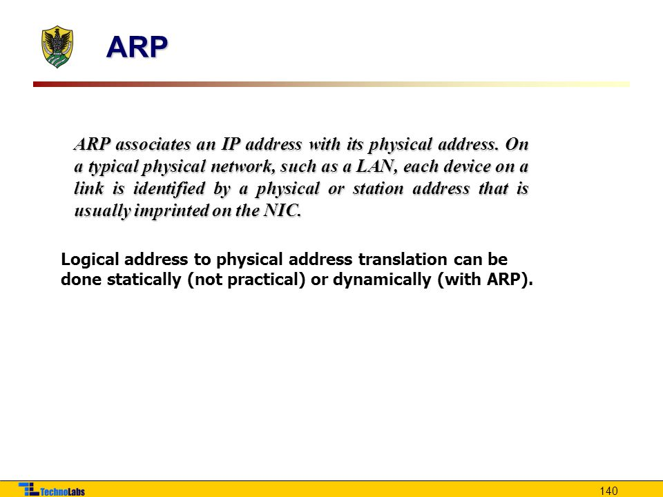 140 ARP associates an IP address with its physical address.
