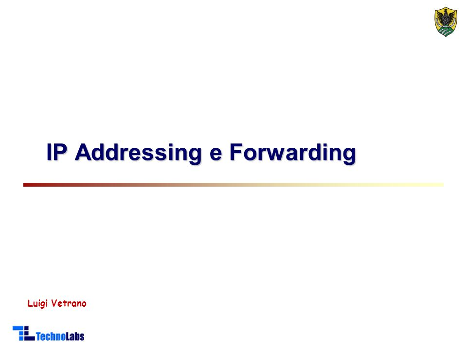 Luigi Vetrano IP Addressing e Forwarding