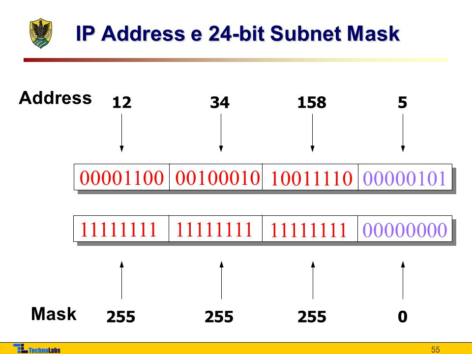 55 IP Address e 24-bit Subnet Mask 0000110000100010 1001111000000101 12341585 11111111 00000000 255 0 Address Mask