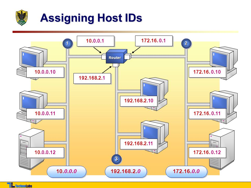Assigning Host IDs 1122 Router 172.16.0.12 172.16.