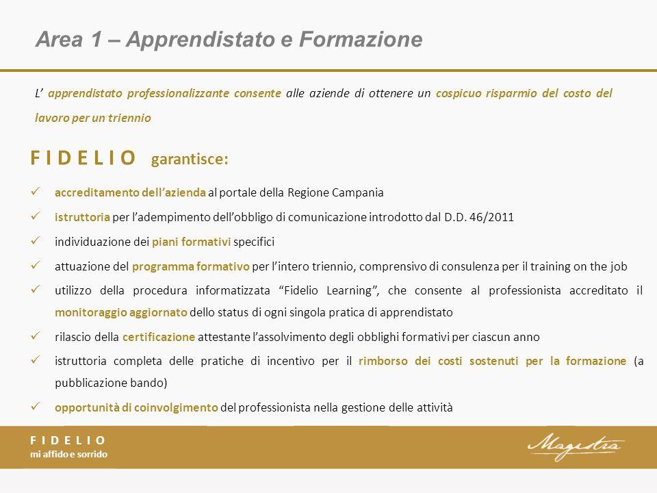 Area 1 – Apprendistato e Formazione FIDELIO mi affido e sorrido FIDELIO garantisce: accreditamento dell'azienda al portale della Regione Campania istruttoria per l'adempimento dell'obbligo di comunicazione introdotto dal D.D.