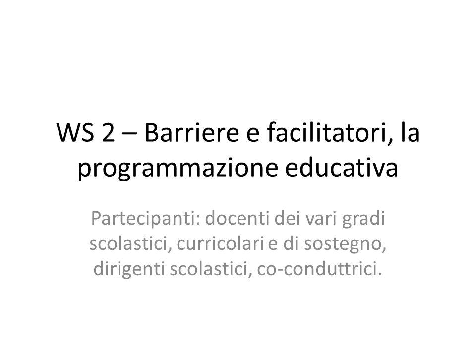 WS 2 – Barriere e facilitatori, la programmazione educativa Partecipanti: docenti dei vari gradi scolastici, curricolari e di sostegno, dirigenti scol