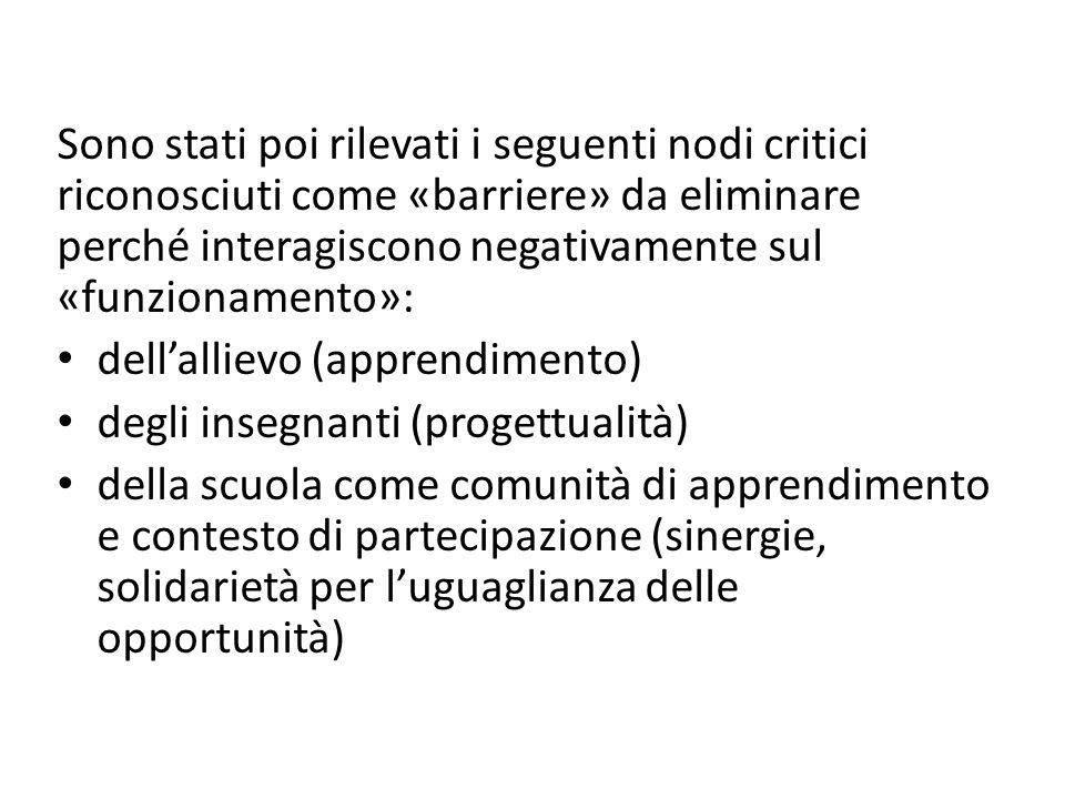 Sono stati poi rilevati i seguenti nodi critici riconosciuti come «barriere» da eliminare perché interagiscono negativamente sul «funzionamento»: dell