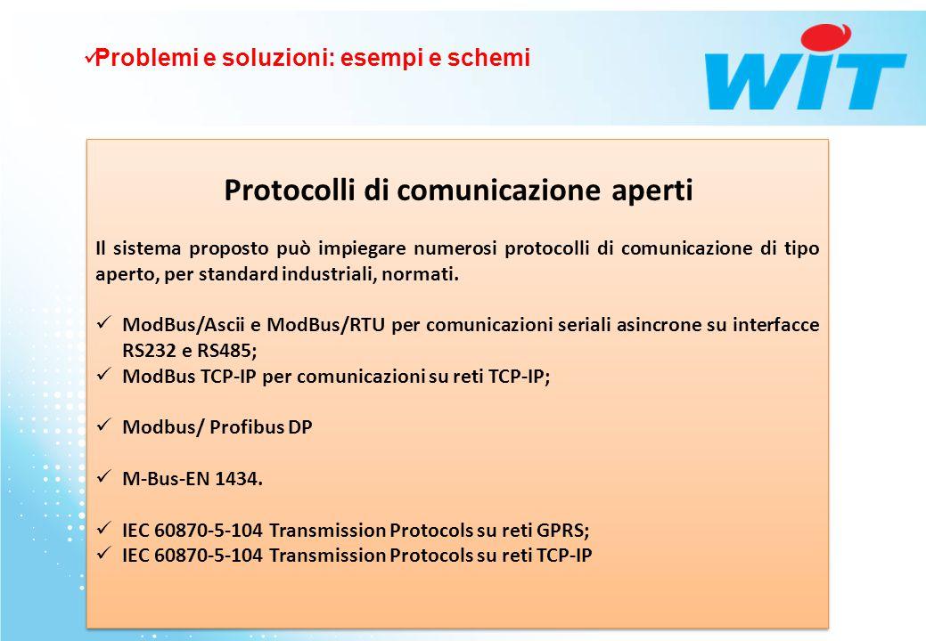Protocolli di comunicazione aperti Il sistema proposto può impiegare numerosi protocolli di comunicazione di tipo aperto, per standard industriali, no