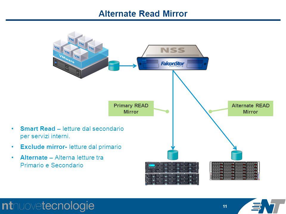 11 Alternate Read Mirror Alternate READ Mirror Primary READ Mirror Smart Read – letture dal secondario per servizi interni. Exclude mirror- letture da