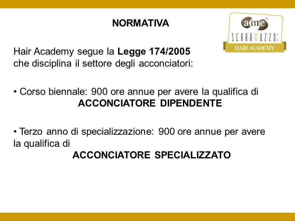 NORMATIVA Hair Academy segue la Legge 174/2005 che disciplina il settore degli acconciatori: Corso biennale: 900 ore annue per avere la qualifica di ACCONCIATORE DIPENDENTE Terzo anno di specializzazione: 900 ore annue per avere la qualifica di ACCONCIATORE SPECIALIZZATO